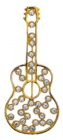 Gold Tone Diamante Guitar Statement Brooch