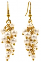 Gold Tone Faux Pearl Grape Cluster Drop Earrings