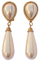 1980s Gilco Gold Plated Faux Pearl Drop Earrings