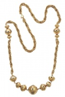 1960s Gold Plated Rope Twist Necklace with Saucer Beads