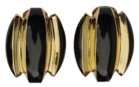Helena Rubinstein 1980s Black & Gold Plated Vintage Earrings