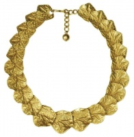 Kenneth Jay Lane 1990s Gold Plated Gingko Leaves Vintage Necklace