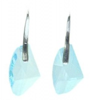 Modern Silver Tone Aqua Glass Drop Earrings