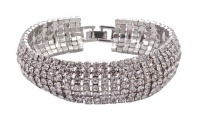 Vintage Classic Silver Tone and Clear Diamante Bracelet