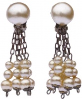 Bronze Tone Faux Pearl Clip On Drop Earrings, circa 1940s