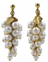 Vintage Gold Plated Faux Pearl Grapes Cluster Drop Earrings