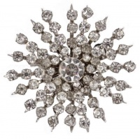 Vintage Coro Silver Tone and Diamante Starburst Brooch