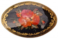 Vintage Russian Wooden Hand Painted Black Lacquer Brooch