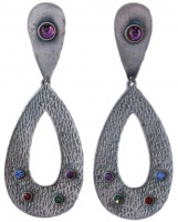 Spanish SIlver Tone and Glass Drop Statement Earrings