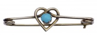 Vintage Rose Gold Tone and Turquoise Heart Brooch