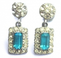 Vintage Aqua Blue and Clear Diamante Drop Earrings