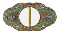 Art Deco Green Orange & Blue Filigree Buckle