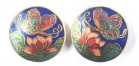 Vintage Butterfly and Flower Cloisonne Earrings