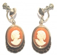 Vintage Faux Cameo Drop Earrings