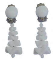 Vintage Clip-on White Glass Drop Earrings