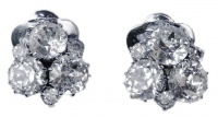 Vintage Diamante Cluster Clip On Earrings, circa 1950s