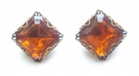 Vintage Faceted Amber Glass Filigree Earrings