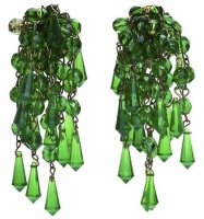 Vintage Faceted Green Glass Cluster Drop Earrings