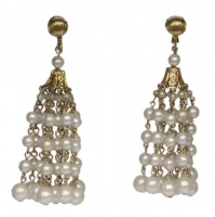 Vintage Gold Plated & Faux Pearl Chandelier Drop Earrings