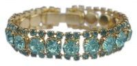 Vintage Gold Plated and Aqua Blue Diamante Bracelet
