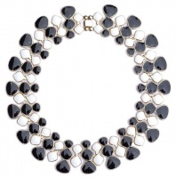 Vintage Gold Tone Black & White Enamel Collar Necklace