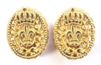 Vintage Crown and Fleur-de-Lis Gold Tone Earrings by Bergere