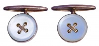 Vintage Gold Tone Mother of Pearl Button Cufflinks
