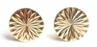 Vintage Gold Tone Round Diamond Cut Cufflinks