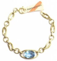 Vintage Gold Tone and Blue Glass Bracelet