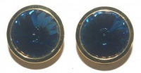 Vintage Gold Tone and Blue Glass Rivoli Earrings