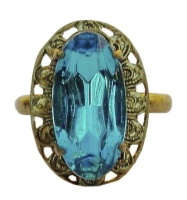 Vintage Gold Tone and Bright Blue Glass Ring
