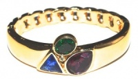 Vintage Gold Tone and Coloured Glass Bangle by Trifari