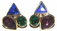 Vintage Gold Tone and Coloured Glass Earrings by Trifari