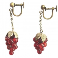 Vintage Gold Tone and Dark Red Glass Drop Earrings