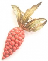 Vintage Gold Tone and Faux Coral Carrot Brooch by Trifari