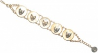Vintage Gold Tone and Faux Mother-of-Pearl Face Bracelet