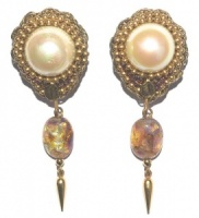 Vintage Gold Tone and Faux Pearl Drop Earrings with Foiled Glass
