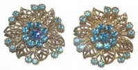Vintage Pale Gold Tone and Ice Blue Diamante Earrings
