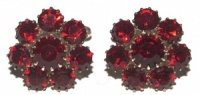 Vintage Ruby Red Glass and Pale Gold Tone Cufflinks