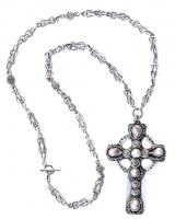 Vintage Silver & Baroque Pearl Celtic Cross and Chain