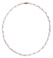 Vintage Silver Tone & Champagne Pink Mother of Pearl Necklace