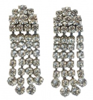 Vintage Silver Tone and Clear Diamante Drop Earrings