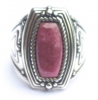 Sterling Silver and Rhodocrosite Ring