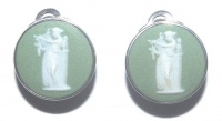Vintage Wedgwood Sterling Silver and Green Jasperware Earrings