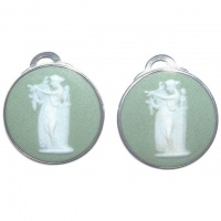Wedgwood 1970s Sterling Silver and Green Jasperware Earrings