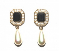 Gold Tone Crystal and Black Glass Drop Earrings by Roman
