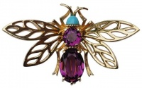 Panetta Amethyst and Turquoise Glass Bee Brooch