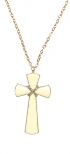 Vintage Cream Cross and Chain by Avon