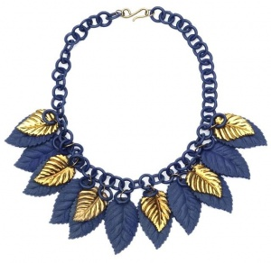 1930s Blue & Gold Celluloid Leaf Vintage Necklace