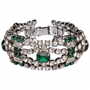 1950s Silver Tone Emerald Green and Clear Diamantes Bracelet